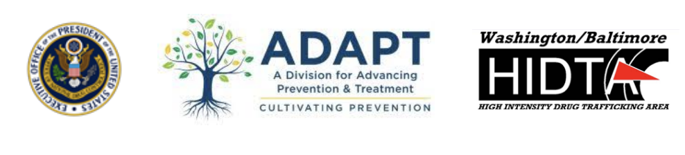 Logos for Executive Office of the President of the United States, ADAPT, Washington/Baltimore HIDTA